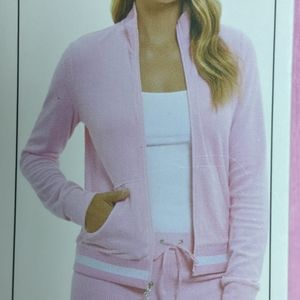 Juicy Couture Pink Terry Zip Track Jacket L NWT